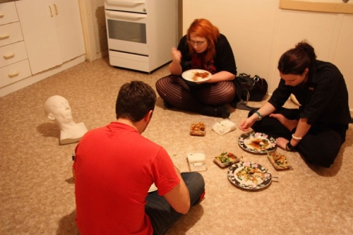 'post exhibition dinner with Erika, Louise, Stephen, and 'Flop(lll)' by Charles Robb'